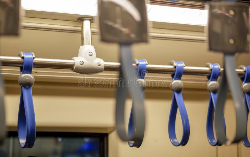 在电车的扶手栏杆 免版税库存图片