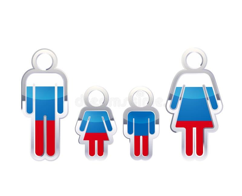 在男人、妇女和儿童的形状的光滑的金属徽章象与俄罗斯旗子,在白色的infographic元素 向量例证