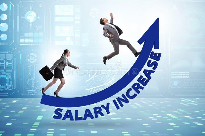 在男人和妇女之间的不齐平的薪水概念 免版税库存图片