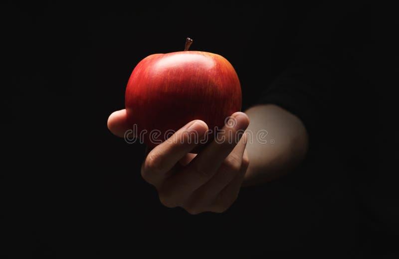 在男性手上的红色成熟苹果,隔绝在黑色 免版税图库摄影