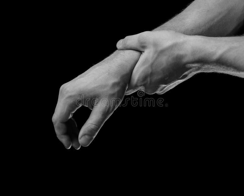 在男性腕子的痛苦 免版税库存照片