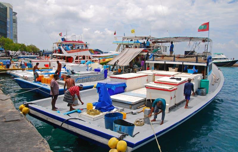 在男性马尔代夫的大捕鱼船相接 免版税库存图片