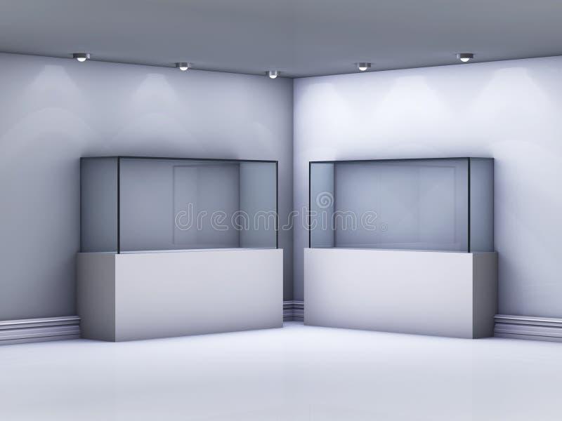 在画廊的玻璃陈列室 库存例证