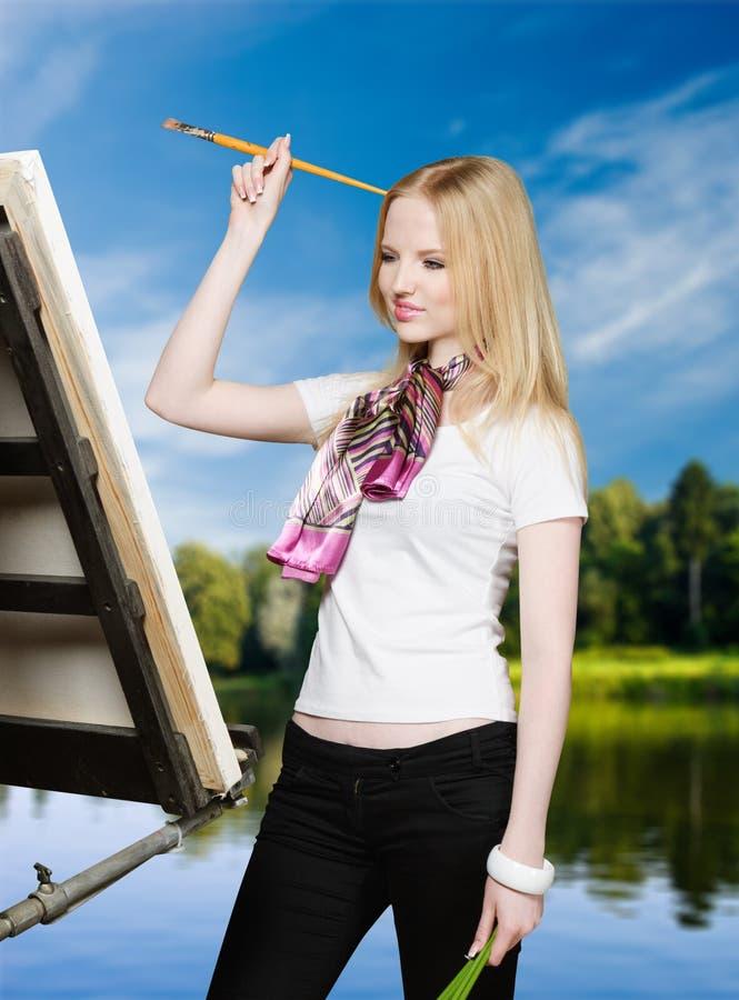 在画架画家之后的艺术家 免版税图库摄影
