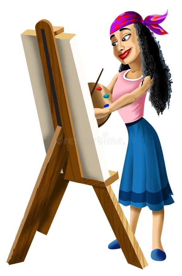 在画架的Artist夫人绘画 库存例证