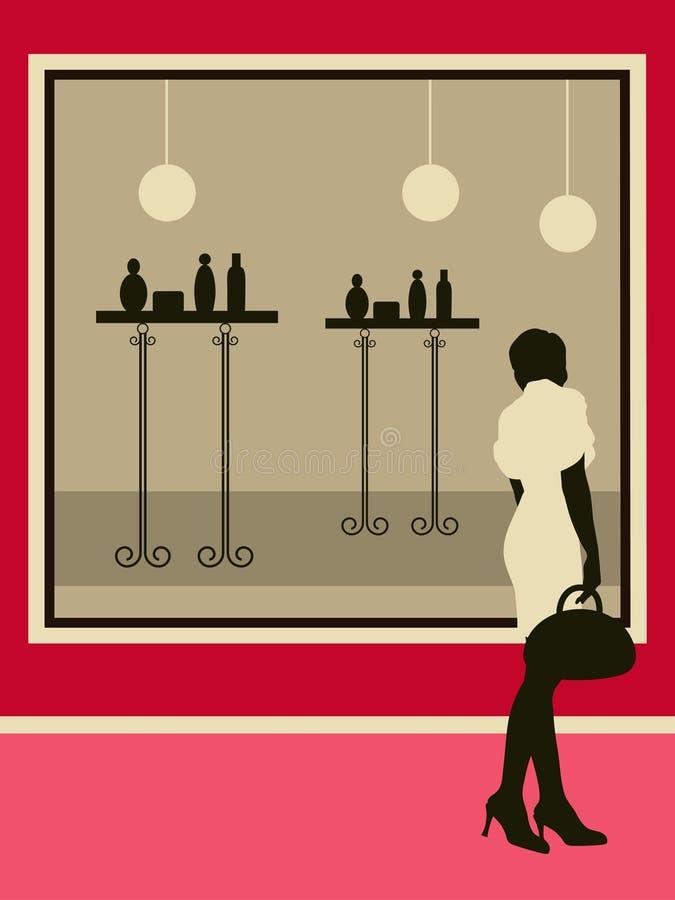 在界面购物陈列室妇女附近 皇族释放例证