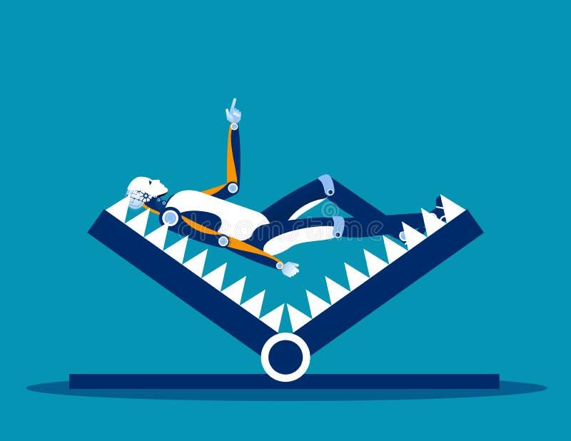 在登上陷井的机器人 概念企业债务陷阱向量例证,被困住,问题和风险 皇族释放例证