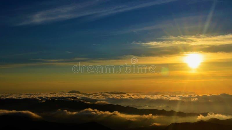 在登山的日落在巴西 库存图片