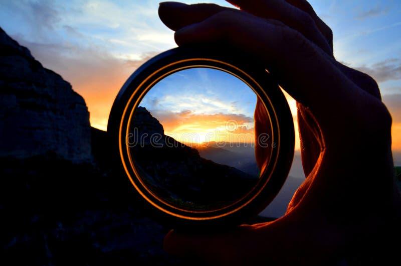 在白云岩的日落 库存照片