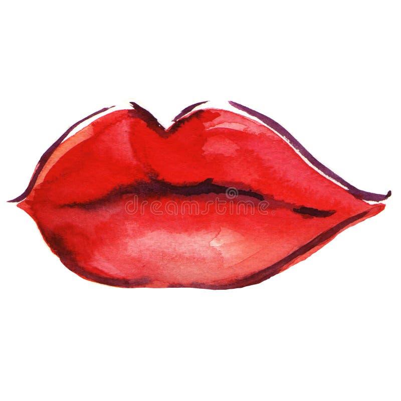 在白人妇女的背景美丽的嘴唇 向量例证