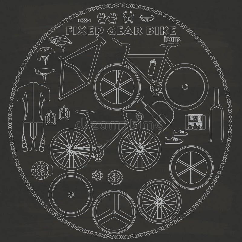 在白垩的固定的自行车 向量例证