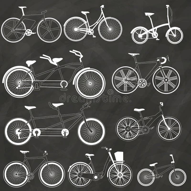 在白垩的自行车 库存例证