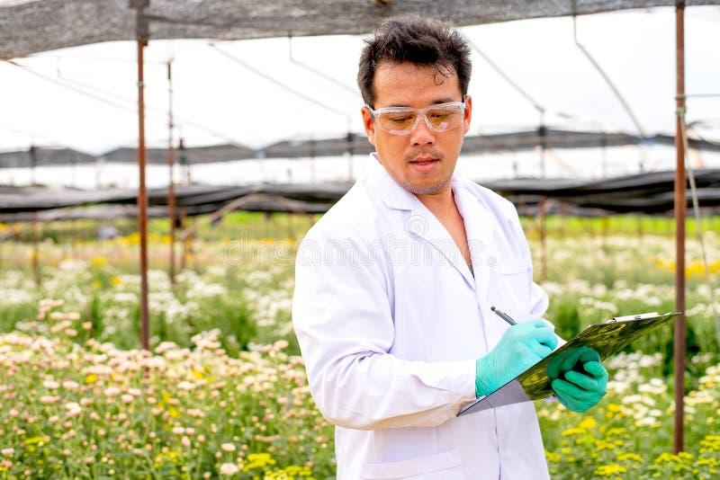 在白天,有白色实验室褂子分析的亚裔科学家人和记录白色和多色花数据在庭院里 免版税图库摄影