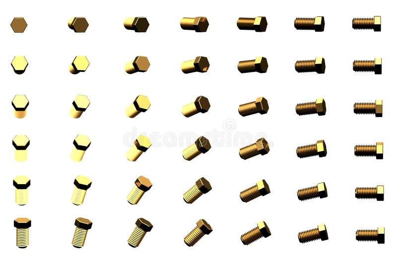 在白的创造性的工业3D例证转动了隔绝的许多台黄色,金黄封盖就位器由不同的角度,图片 库存例证