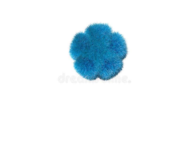 在白的星号隔绝的亲爱的蓝色羊毛内衣的字体,标志的童年概念3D例证 库存例证
