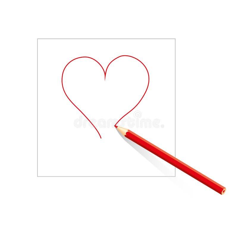 在白皮书板料的色的铅笔画的被隔绝的红色概述心脏在白色背景的 皇族释放例证