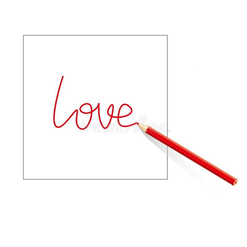 在白皮书板料的色的铅笔画的被隔绝的红色题字爱在白色背景的 皇族释放例证