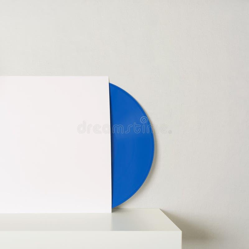 在白皮书案件的蓝色唱片 免版税库存图片