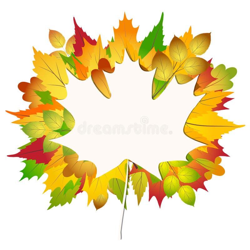 在白皮书的五颜六色的秋天枫叶回到学校背景储蓄传染媒介例证 向量例证