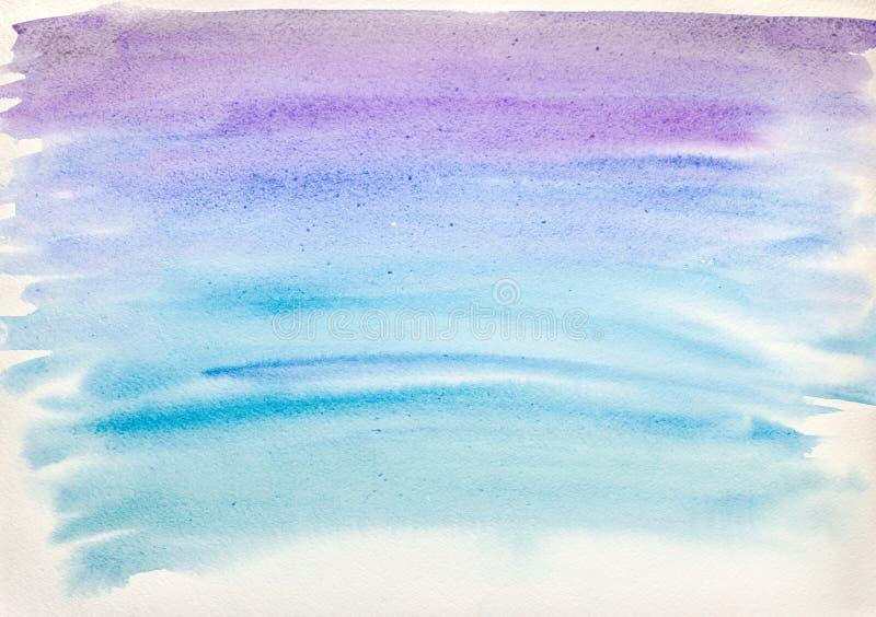 在白皮书的摘要手画蓝色水彩飞溅 免版税库存图片