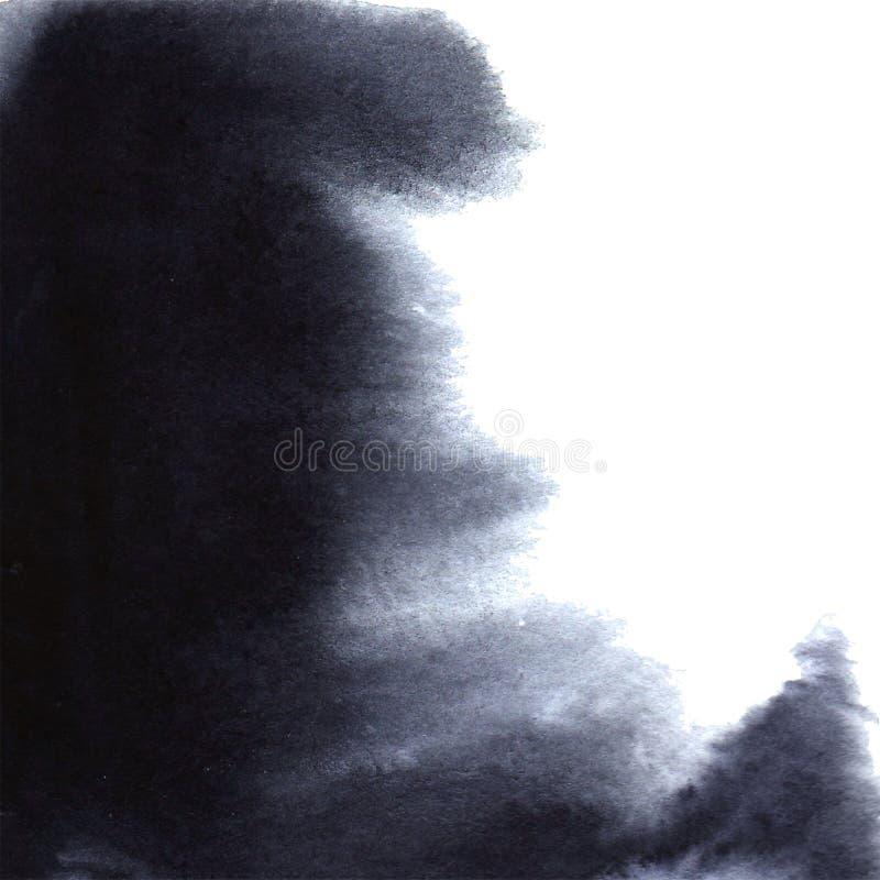在白皮书的美好的水彩墨水下落,绘淌血的绽放,当黑圈子有机流程扩展,喷溅传播  免版税库存图片