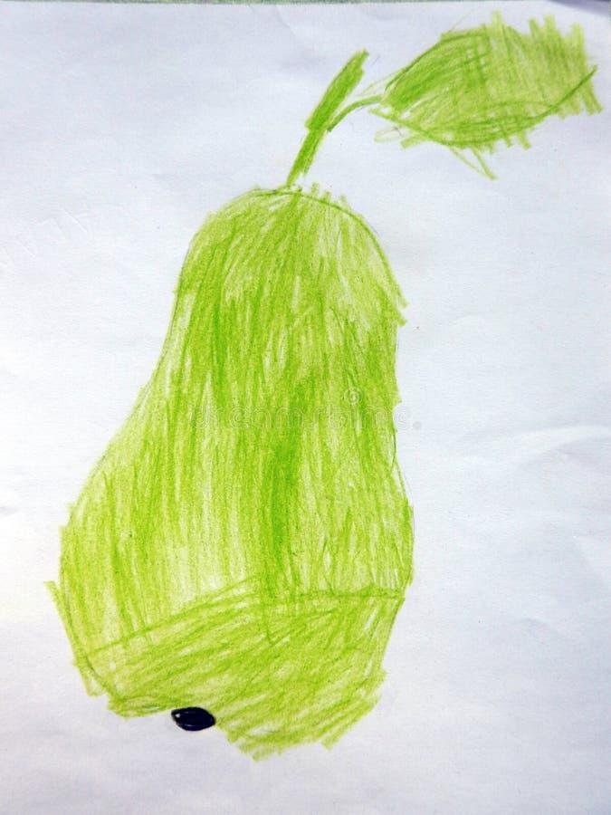 在白皮书的被绘的绿色梨 免版税库存图片