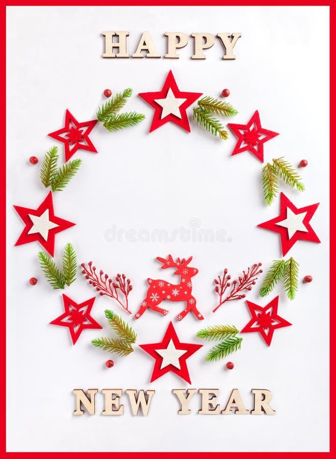 在白皮书的贺卡与一题字新年快乐 免版税库存照片