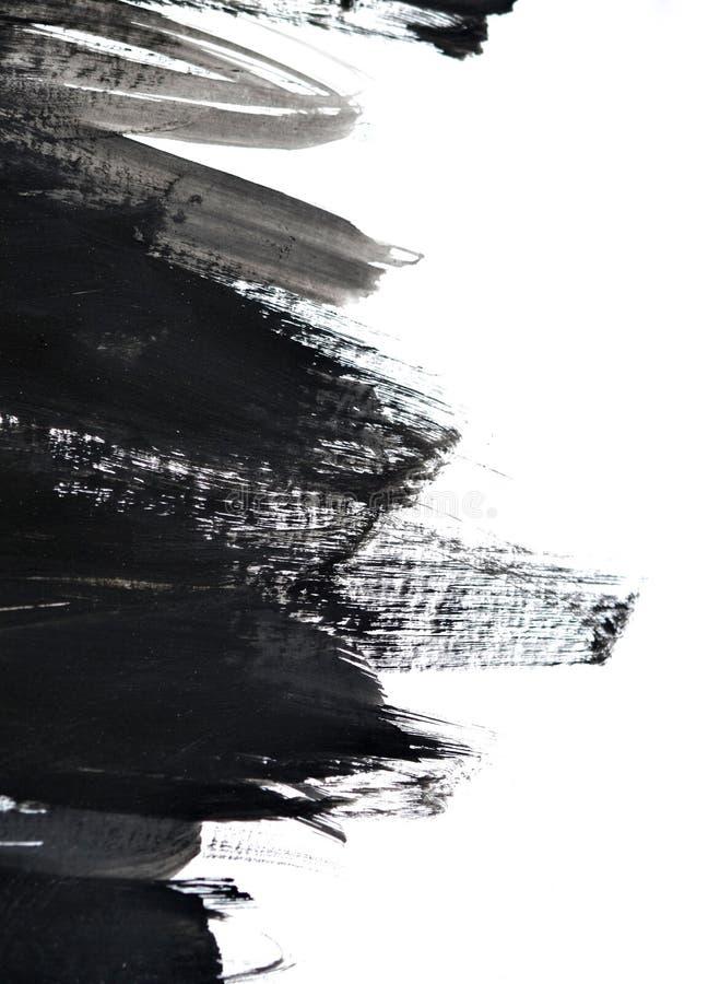 在白皮书的黑刷子冲程 库存照片