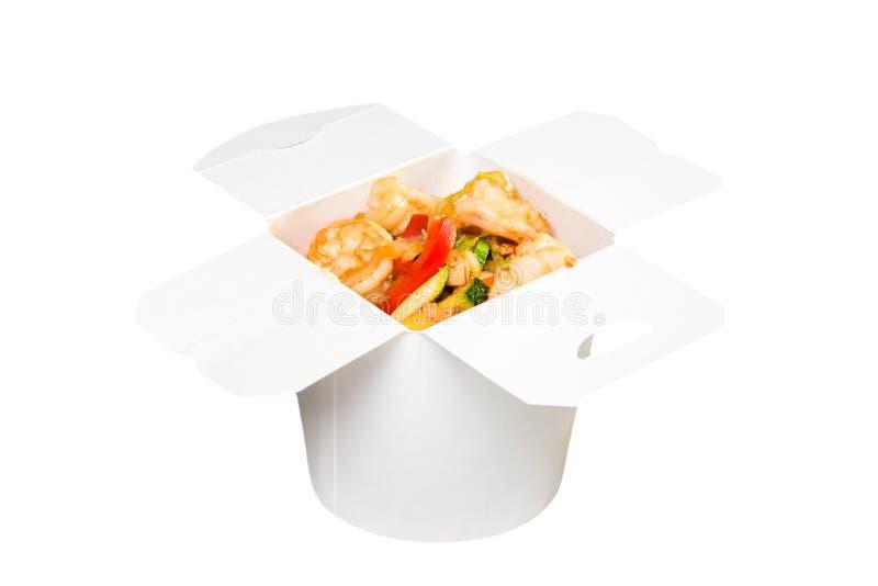 在白皮书箱子的中国快餐盘 免版税图库摄影