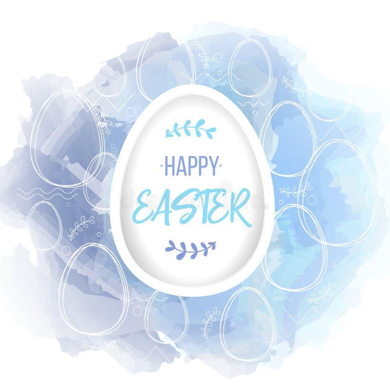 在白皮书鸡蛋的愉快的复活节字法 在水彩数字式仿制背景的传统宗教标志与 皇族释放例证