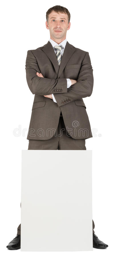 Download 在白纸后的商人 库存照片. 图片 包括有 幸福, 经理, 纸张, 海报, 登广告者做广告, 姿势, 诉讼 - 72358048
