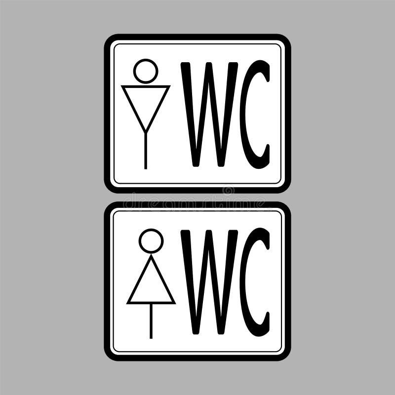 在白背景、男人和妇女-传染媒介例证的WCtoilet象黑色稀薄的线 库存例证