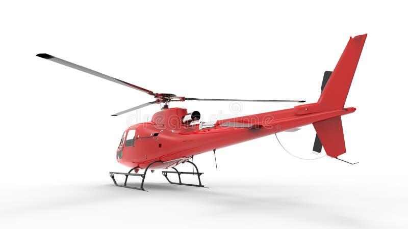 在白色一致的背景的红色民用直升机 3d例证 向量例证