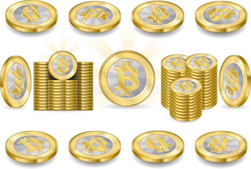 在白色一Bitcoins隔绝的套 皇族释放例证