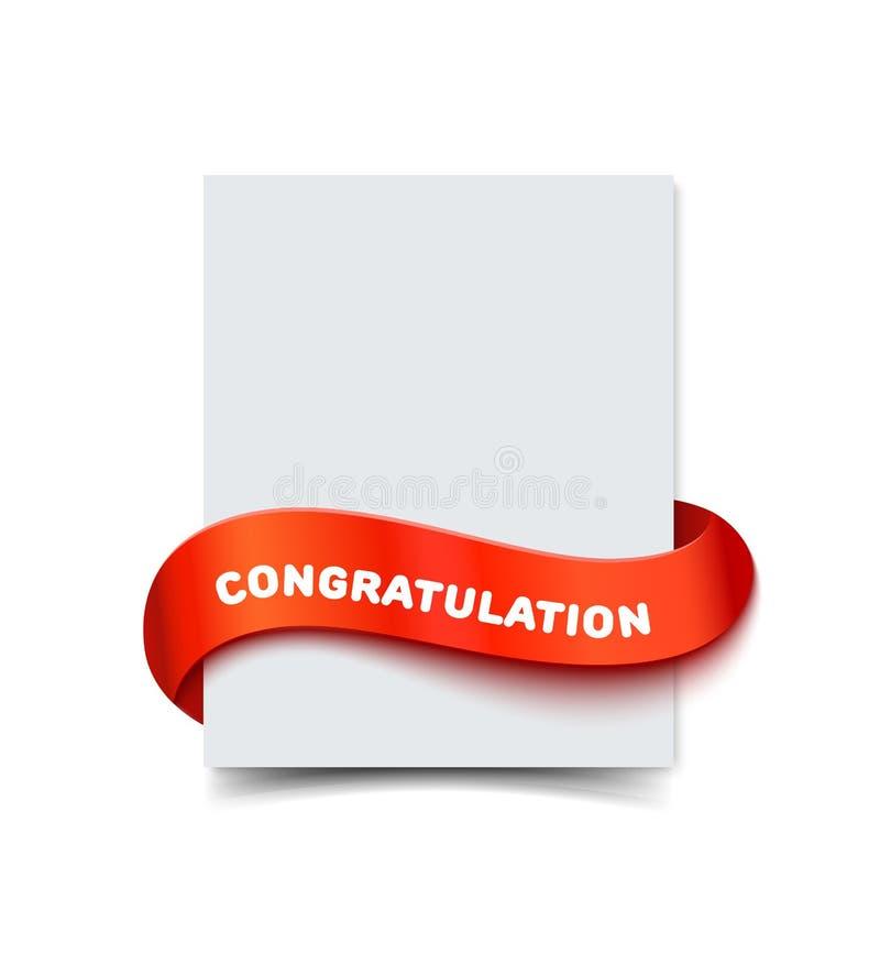 在白色与卷毛红色礼物丝带和题字祝贺的纸贺卡隔绝的 现实传染媒介 向量例证