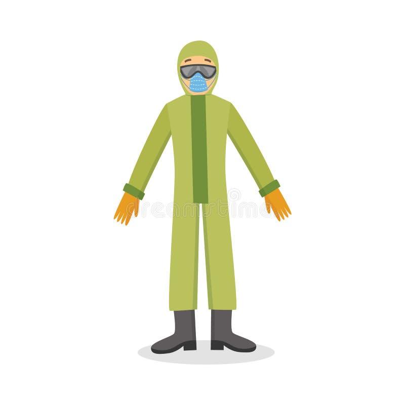 在白色与盔甲和防毒面具传染媒介隔绝的防护化工衣服的人 皇族释放例证