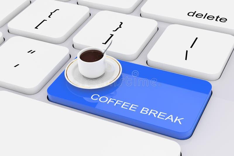 在白色个人计算机键盘的蓝色咖啡休息钥匙 3d翻译 皇族释放例证