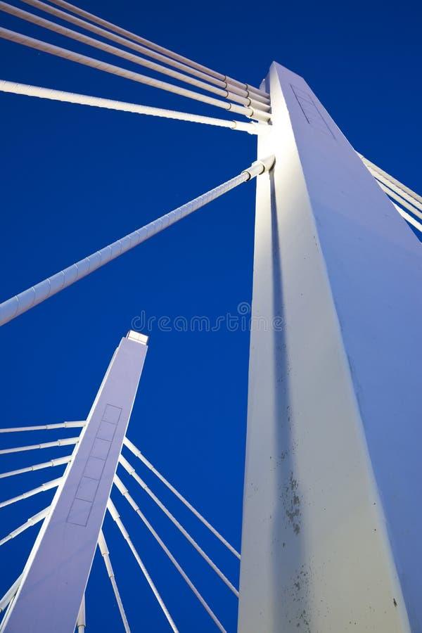 在白色之下的蓝色桥梁天空 免版税库存图片