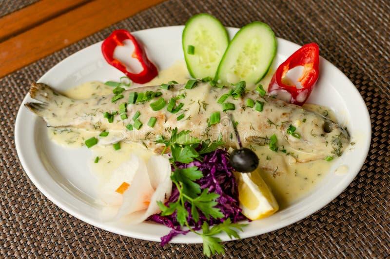 在白色乳脂状的调味汁的新鲜的可口鳟鱼,与菜 免版税库存照片