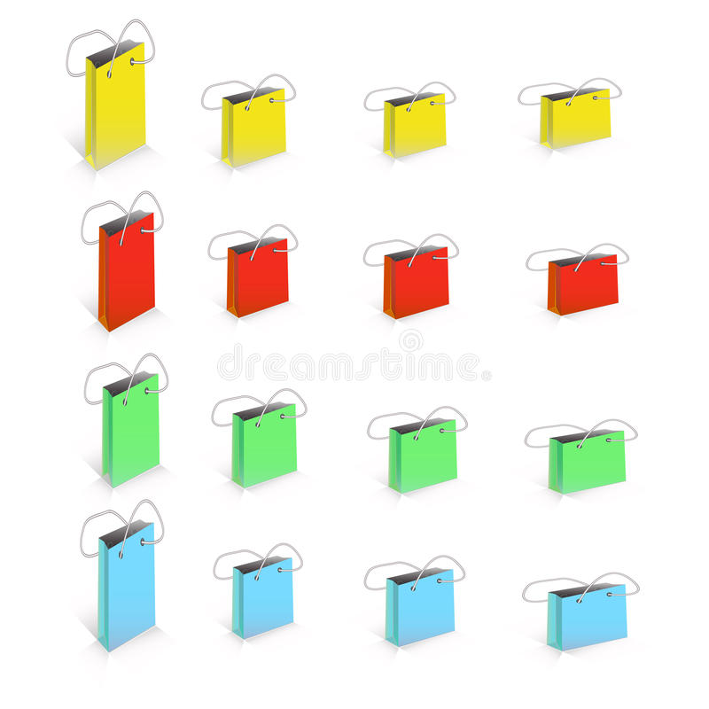 在白色五颜六色的空的购物下陷隔绝的传染媒介套 库存例证