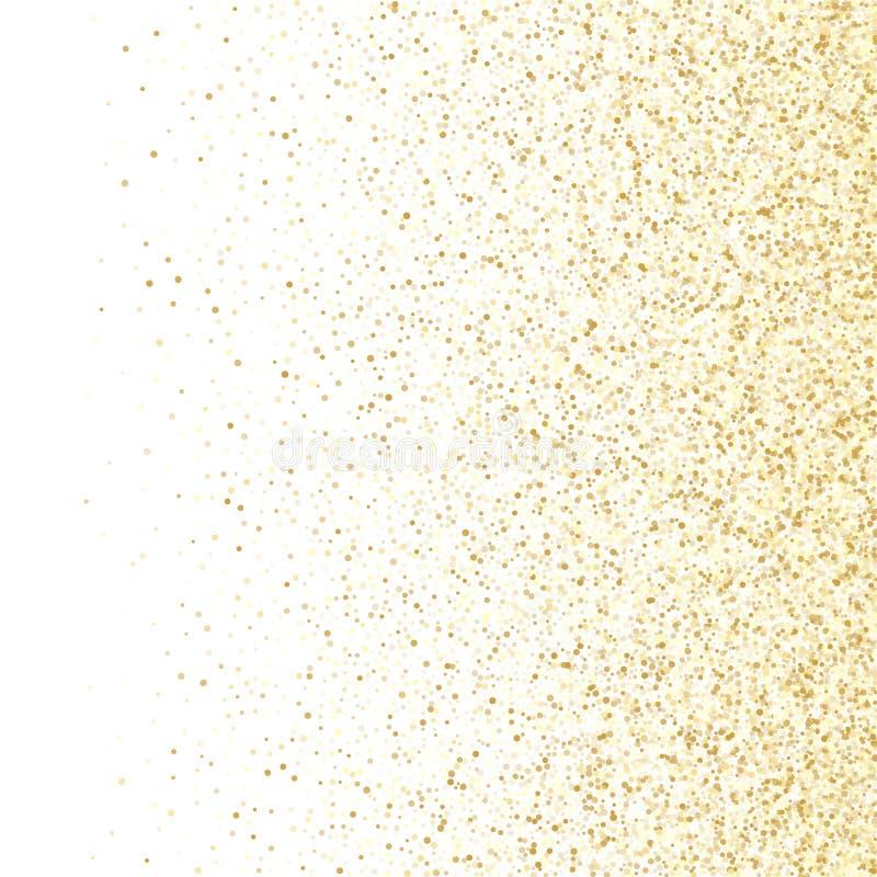 在白色传染媒介背景的金闪闪发光闪烁尘土金属五彩纸屑 库存例证