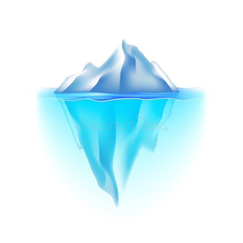 在白色传染媒介的冰山 皇族释放例证