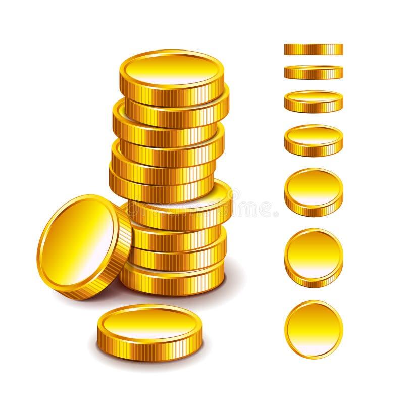 在白色传染媒介的金黄硬币 库存例证