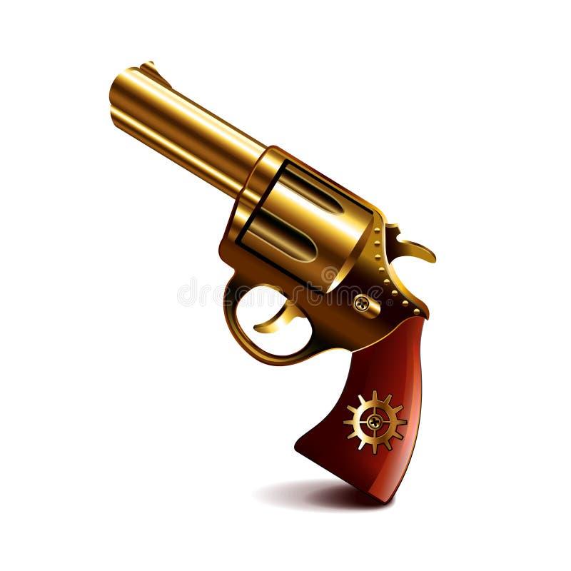 在白色传染媒介的Steampunk枪 库存例证
