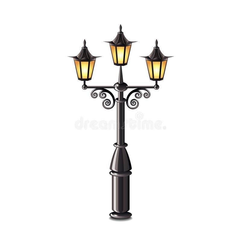 在白色传染媒介隔绝的街道灯笼 皇族释放例证