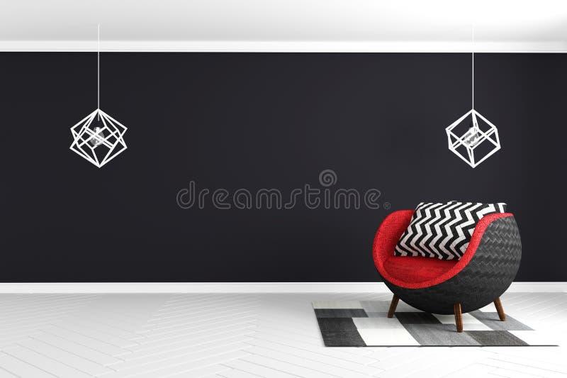 在白色光滑的地板的黑墙壁背景与红色扶手椅子和灯和地毯现代样式 3d?? 皇族释放例证