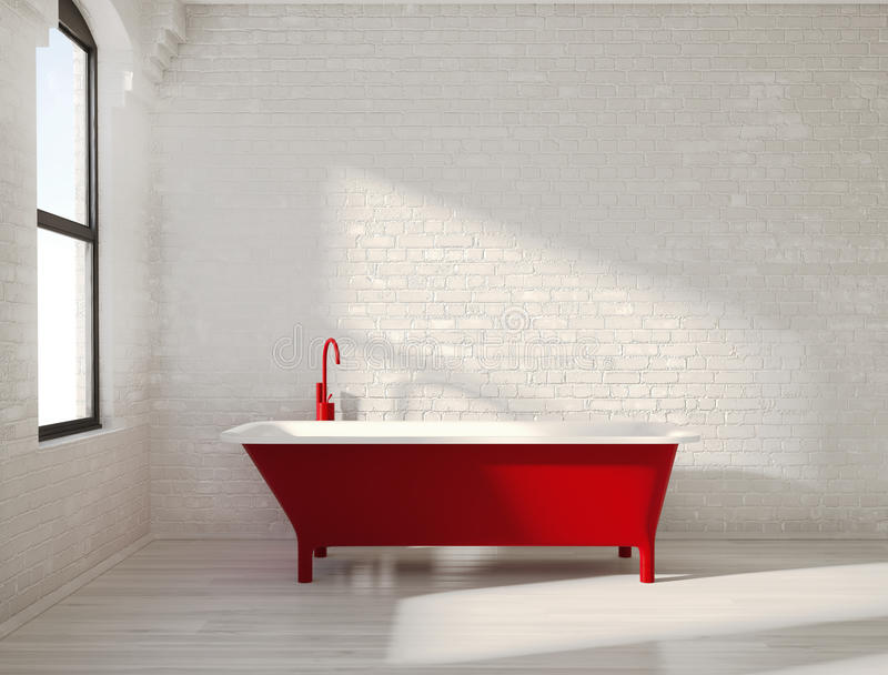 在白色内部的当代红色浴缸 免版税库存图片
