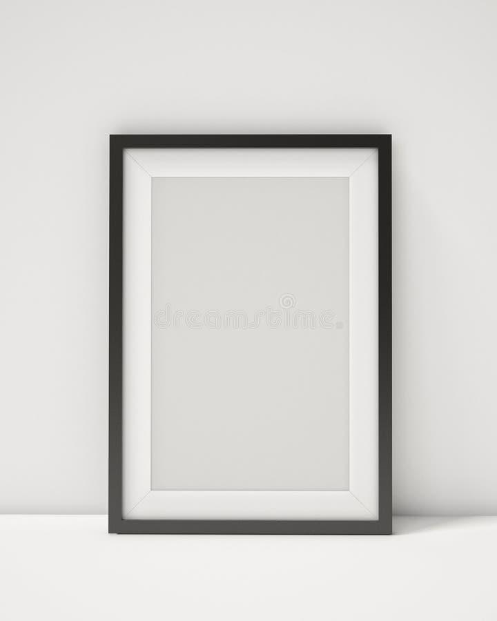 在白色内部背景的空白的黑画框 向量例证