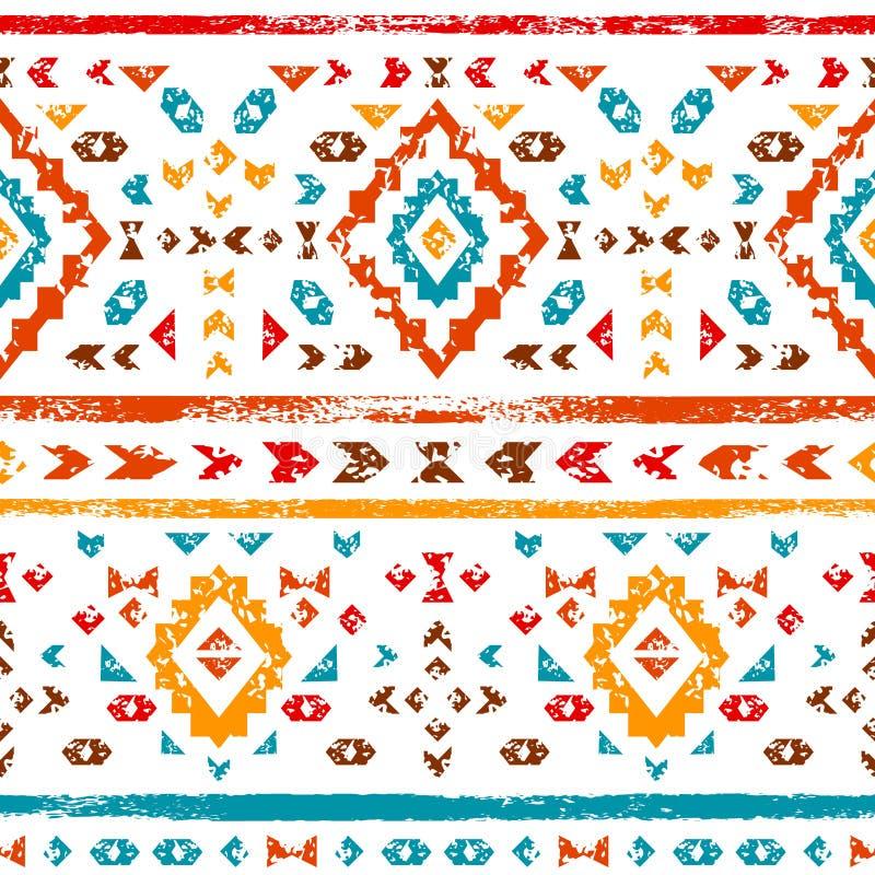 在白色几何种族例证,传染媒介的五颜六色的阿兹台克装饰品 皇族释放例证