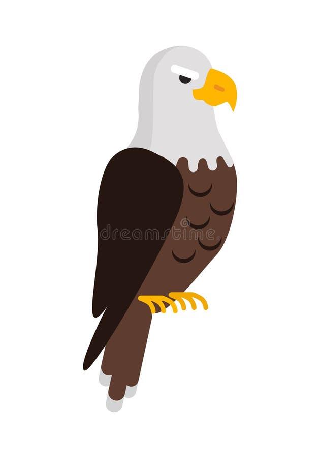 在白色动画片隔绝的老鹰大鸷 库存例证
